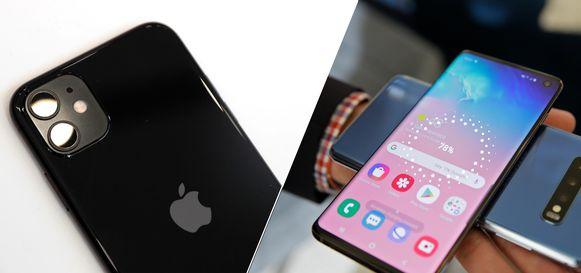 De iPhone 11 en de Samsung Galaxy S10+.