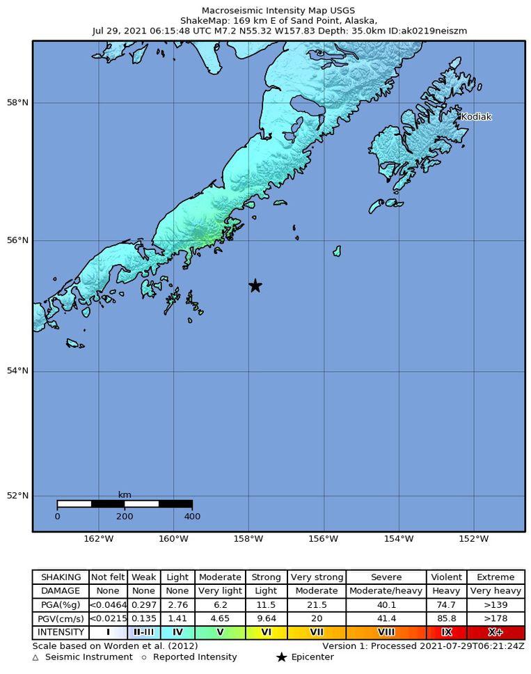 De plek waar de aardbeving was, 91 kilometer van Perryville. Beeld EPA/United States Geological Survey