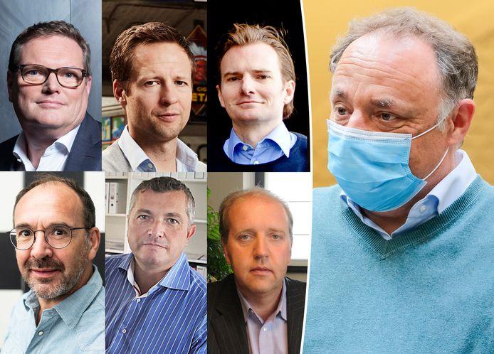 Zes ondernemers dagvaarden viroloog Marc Van Ranst (uiterst rechts). Bovenste rij: Bart De Coninck, Tanguy Van Quickenborne, Tom De Bruyckere. Onderste rij: Rudi De Kerpel, Philip Nichelson en Patrick Vermaerke.