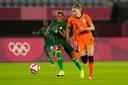 Vivianne Miedema in actie tegen Zambia. Ze maakte vier van de tien Nederlandse goals.