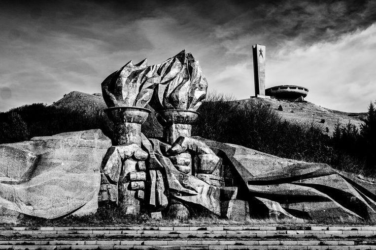 Voormalig communistisch monument Buzludzha in het Bulgaarse Balkangebergte. Beeld Tim Dirven