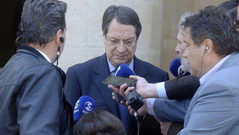 President van Cyprus Nikos Anastasiades na het overleg in Nicosia Beeld epa