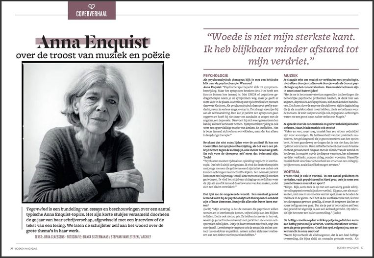Het bewuste interview in 'Boeken Magazine'. Beeld Boeken Magazine