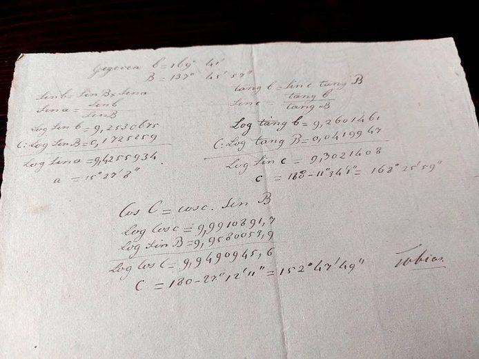 Het blad papier van de 18e-eeuwse papiermaker Tobias van Loo, met daarop formules/berekeningen.