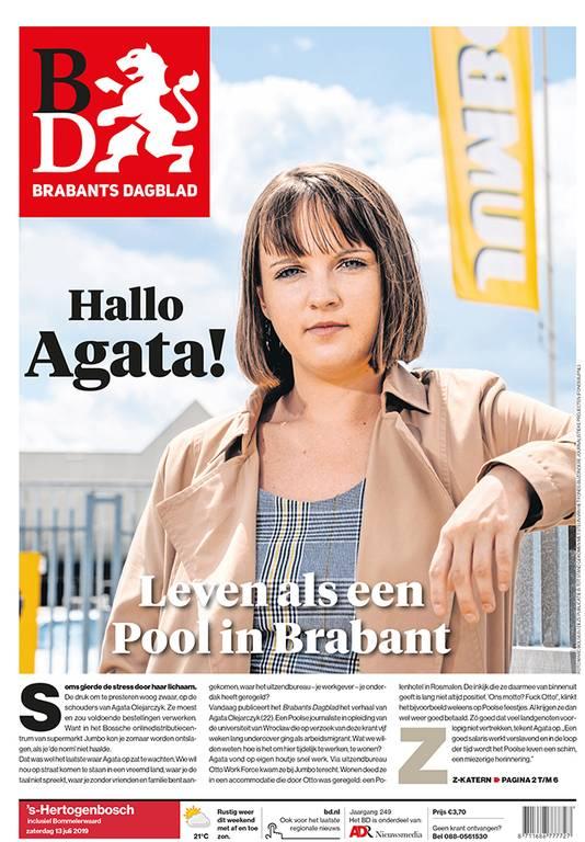 Een Poolse journalist ging voor het Brabants Dagblad undercover. Dat leverde deze voorpagina op.