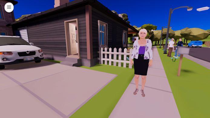 Beeld uit game Wie helpt. Dit is mevrouw Karelse die nog zelfstandig woont, maar licht dementerend is.