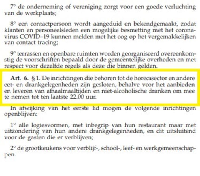 De bewuste passage in het ministerieel besluit van 18 oktober.
