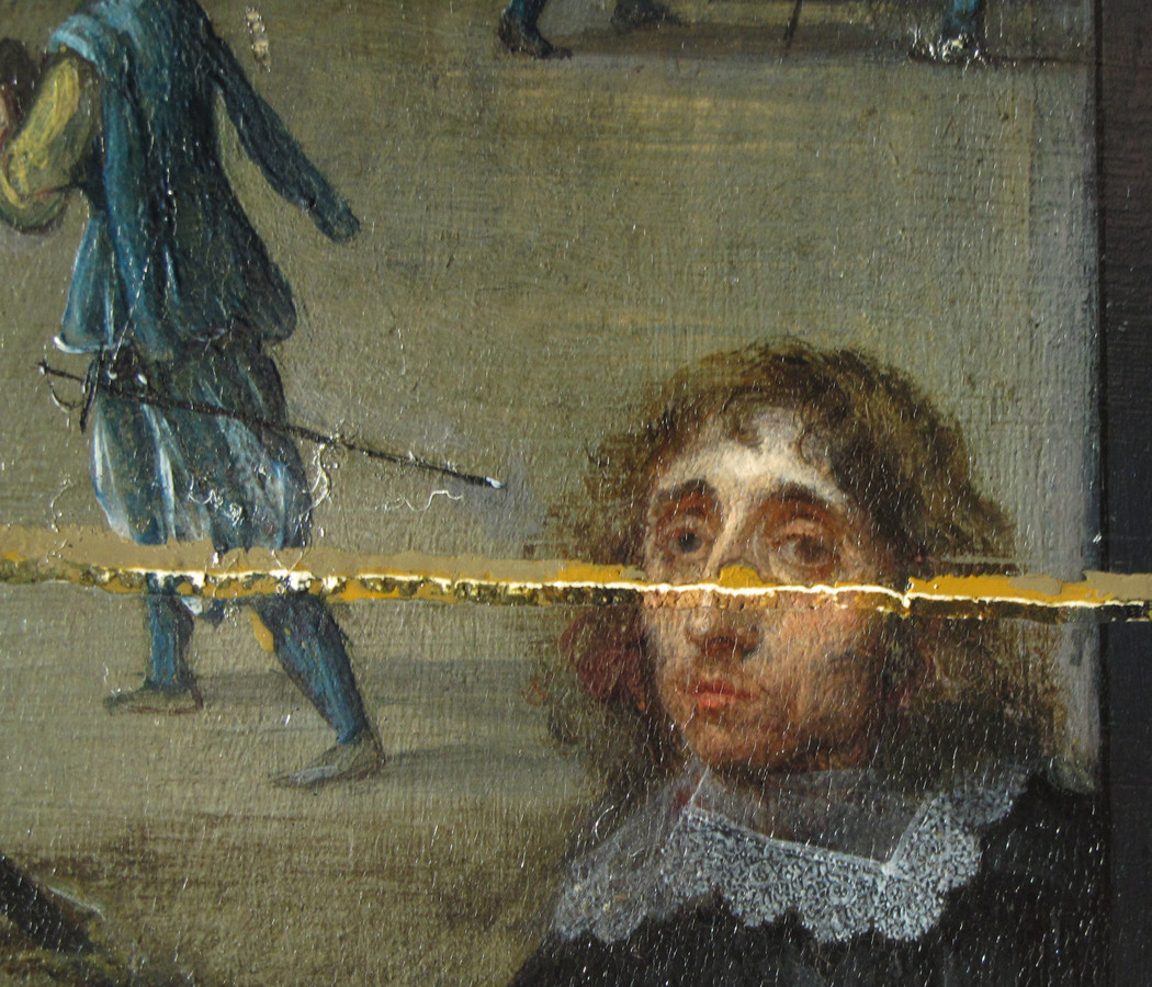 De restauratie legde details van de originele verflaag bloot, zoals de ogen van schilder Willem van Haecht.