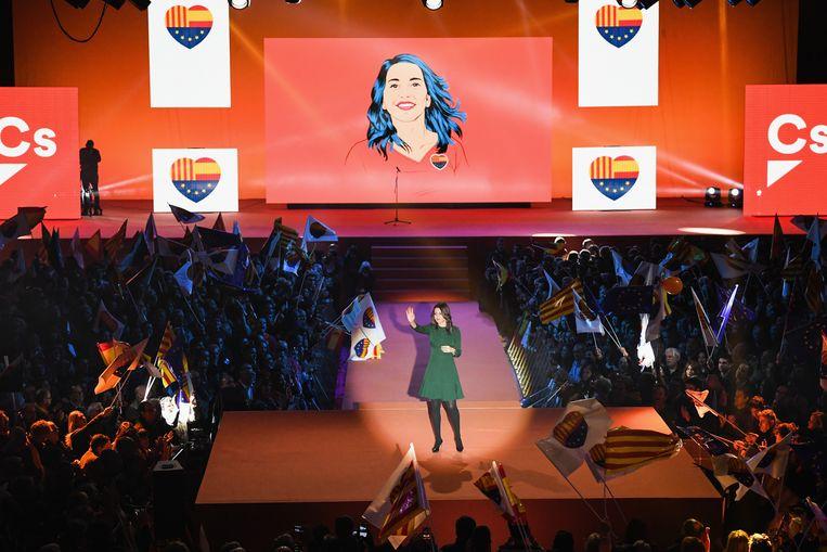 Ines Arrimades leidt de Catalaanse afdeling van Ciudadanos, de partij die mogelijk de grootste wordt. Beeld Getty Images