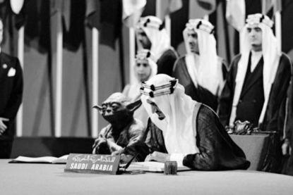 Opschudding door foto in schoolboek waarop Yoda naast Saudische koning zit