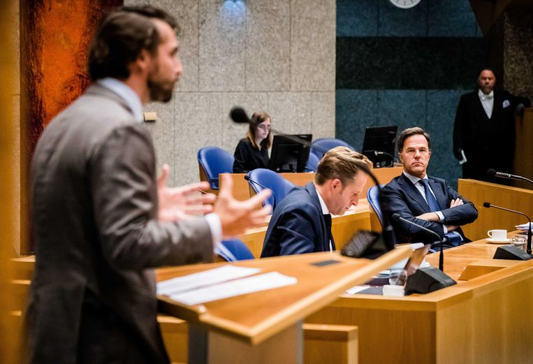 """Mark Rutte over de opgedoken appjes van Thierry Baudet: """"Die passen wel in het beeld dat we al langer van hem zien, maar nu is het landelijk wel onmogelijk geworden om met hem in een kabinet te gaan zitten."""" Beeld Bart Maat/ANP"""