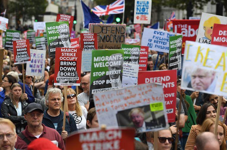 Protest tegen de regering van Boris Johnson in Londen.