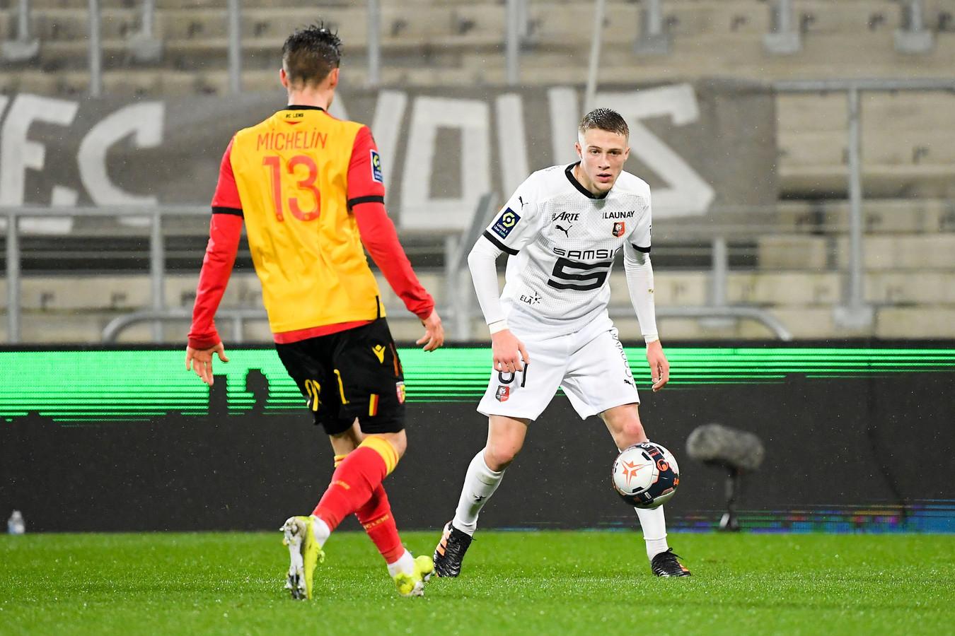 Truffert in het shirt van Stade Rennais.