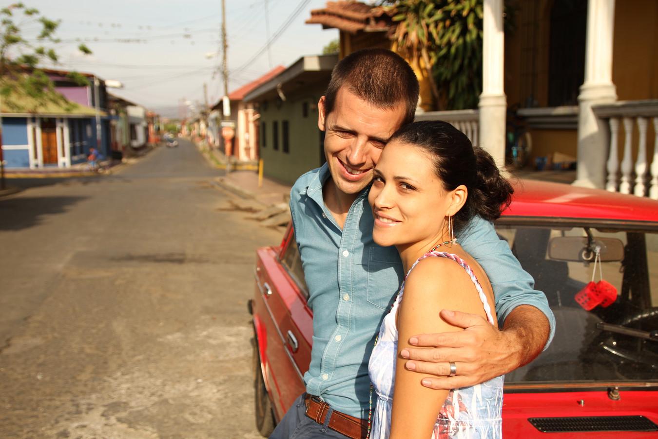 Stef Biemans met zijn Nicaraguaanse vrouw Audrey.