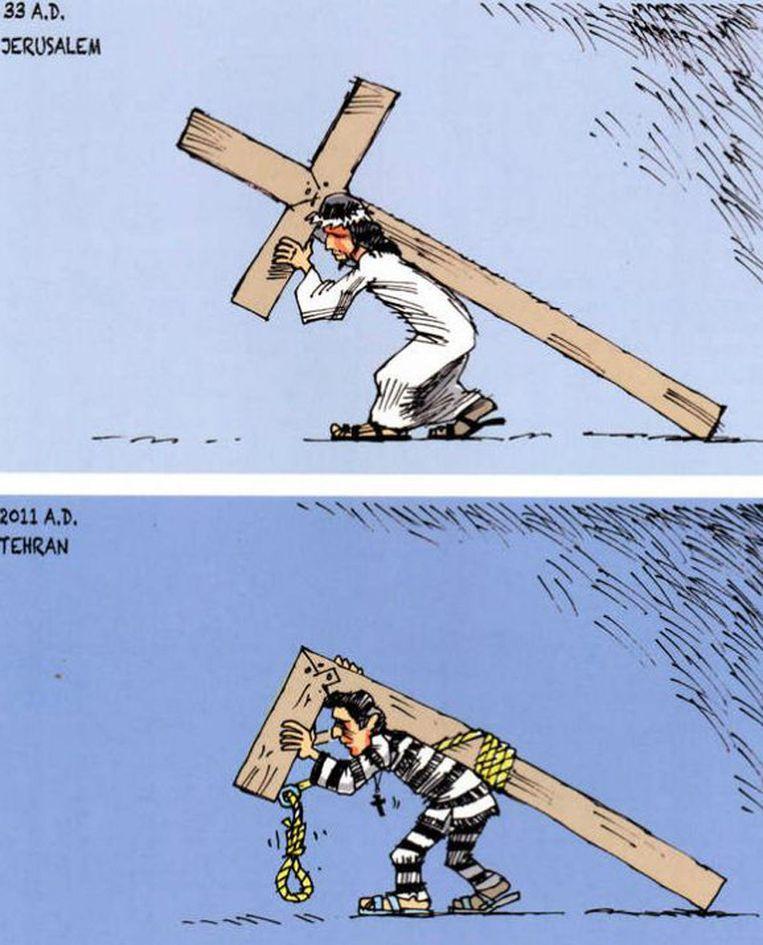 Illustraties afkomstig uit 'Sketches of Iran, A Glimpse from the Front Lines of Human Rights'. Een verzameling Iraanse cartoons in een uitgave van ICHRI Beeld ICHRI
