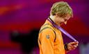 Epke Zonderland met zijn gouden medaille die hij haalde op de Olympische Spelen in Londen.