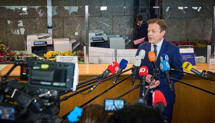Pieter Omtzigt, afgelopen week, toen hij kort met de media sprak. Hij was even in Den Haag om zich als Tweede Kamerlid te laten installeren.