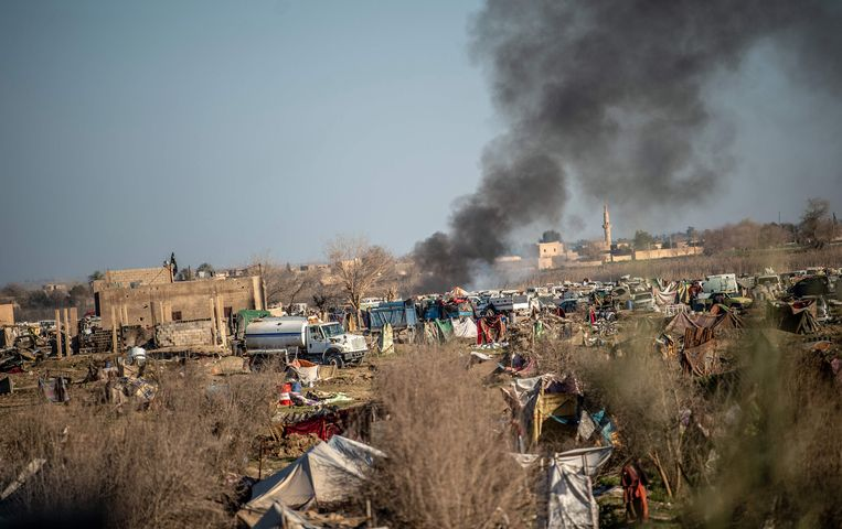 De voorbije weken werd al hevig strijd geleverd rondom Baghouz. Beeld AFP