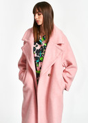 Manteau oversize rose en laine recyclée