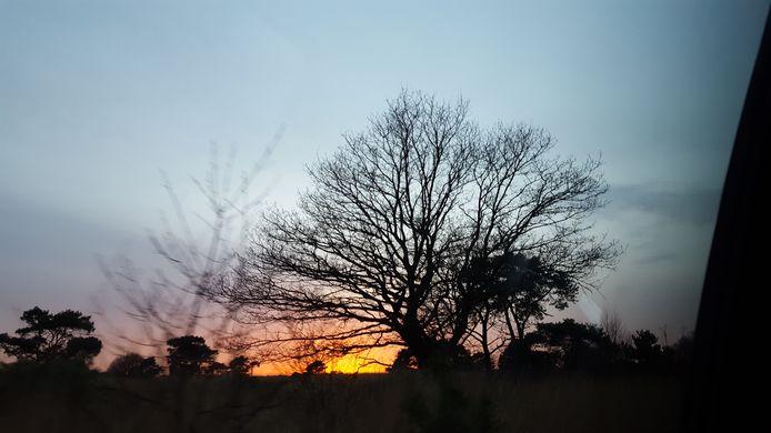 De zon gaat onder in het Goor bij Soerendonk