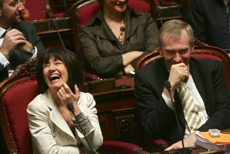 Yves Leterme en Laurette Onkelinx in de Senaat in 2007. Beeld PHOTO_NEWS