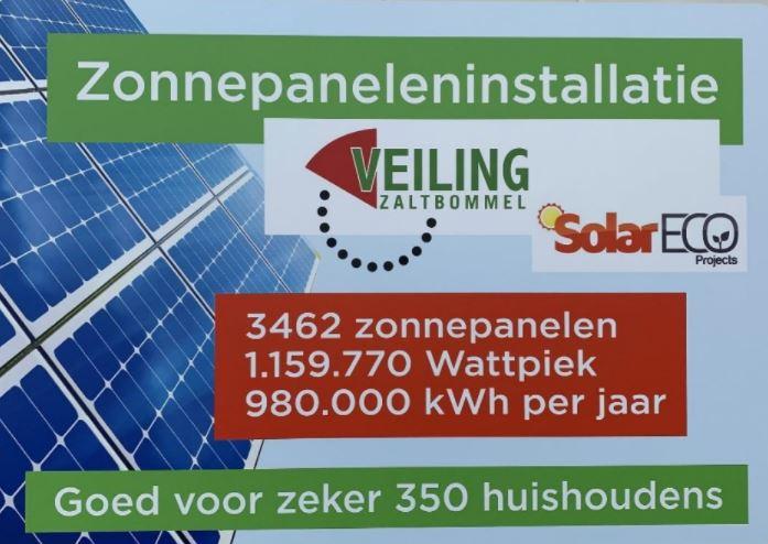 Veiling Zaltbommel heeft nu ook een zonnedak.