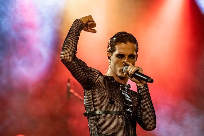 Zanger Damiano David tijdens een eerder concert van de band in Berlijn.