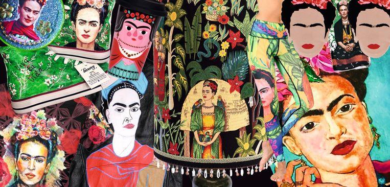 De beeltenis van de Mexicaanse kunstenares Frida Kahlo duikt werkelijk overal op. Je spot haar onder veel meer op sneakers, gsm-hoesjes, koffiemokken en T-shirts. Beeld rv