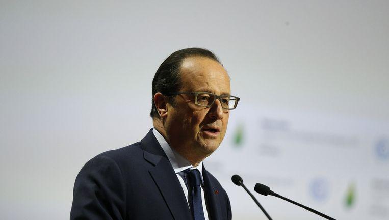 François Hollande bij de opening van de klimaattop in Parijs. Beeld ap