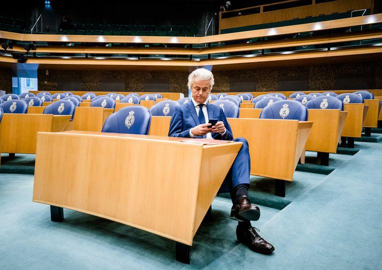 Geert Wilders (PVV) in de Tweede Kamer tijdens het wekelijkse Vragenuur. Beeld ANP/Bart Maat