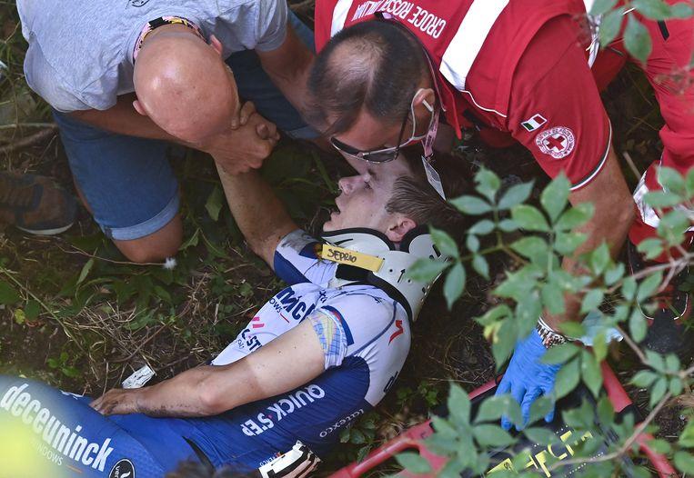 'Ik hoop dat ik geen tweede keer zo zwaar ten val kom, maar ik besef ook: een renner valt nu eenmaal. Ik ben jong, het zál nog gebeuren.' Beeld AFP