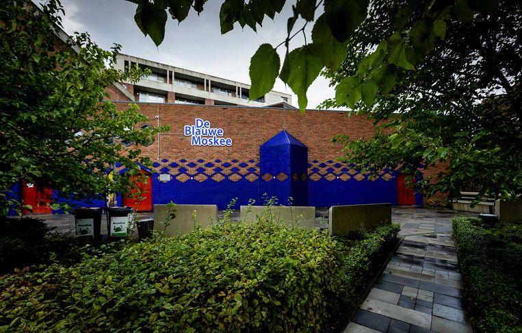 De Blauwe Moskee in Amsterdam kondigde afgelopen week aan met de gebedsoproep te willen beginnen. Beeld ANP