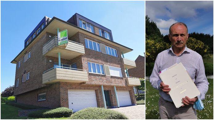 Links het appartementsgebouw op de Nijvelsesteenweg in Essenbeek, rechts René Dekegel met de documenten van het appartement dat zijn ouders ooit kochten.
