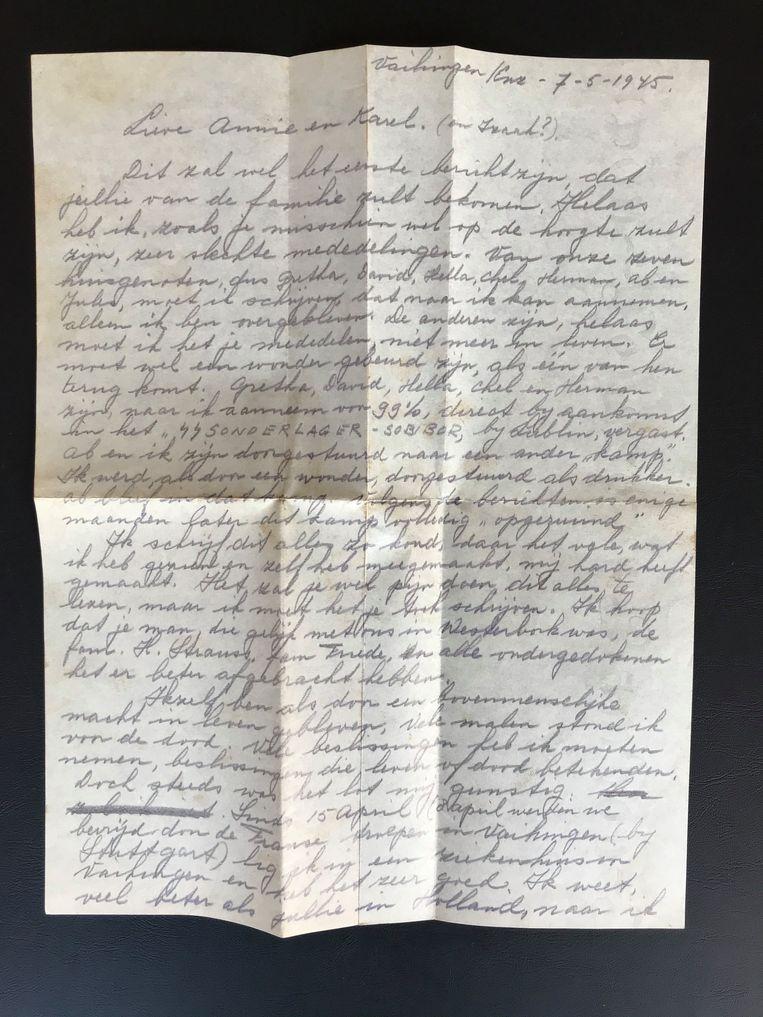 De brief van Schelvis.  Beeld Het Verzetsmuseum