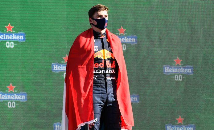 Max Verstappen tijdens de huldiging op Zandvoort.