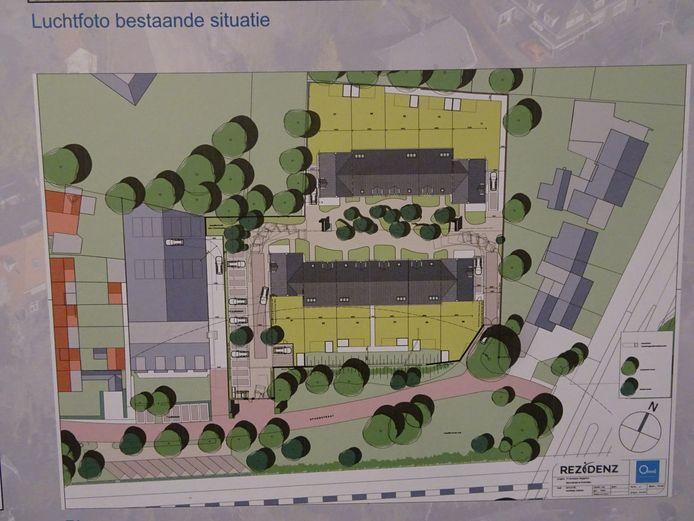 Tekening van het bouwplan aan de Spoorstraat.