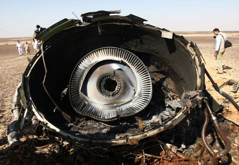 Een wrakstuk van de Russische Airbus A321, die op 31 oktober in de Sinaï neerstortte.