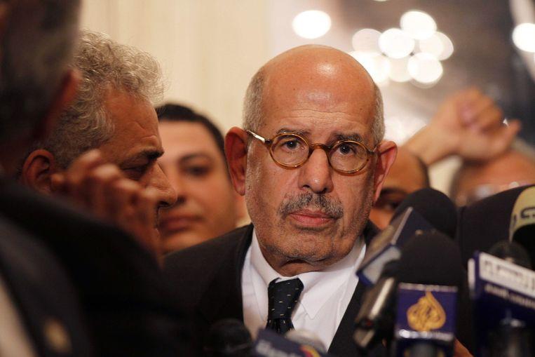 Nadat Mohammed el-Baradei terugtrad als vicepresident na het bloedbad op het Rabaa-plein, verdween zijn naam uit de schoolboeken.  Beeld AFP