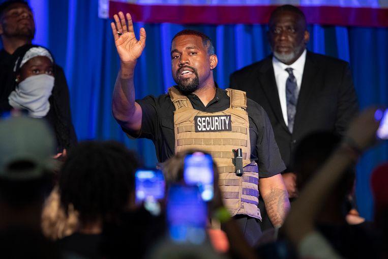 Kanye West tijdens zijn eerste verkiezingsrally. Beeld AP
