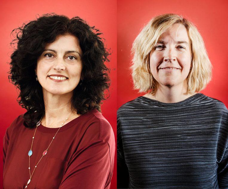 Evangelia Demerouti  (TU Eindhoven) en Stephanie Lenoir (UGent). Beeld Stefaan Temmerman / Bart van Overbeeke