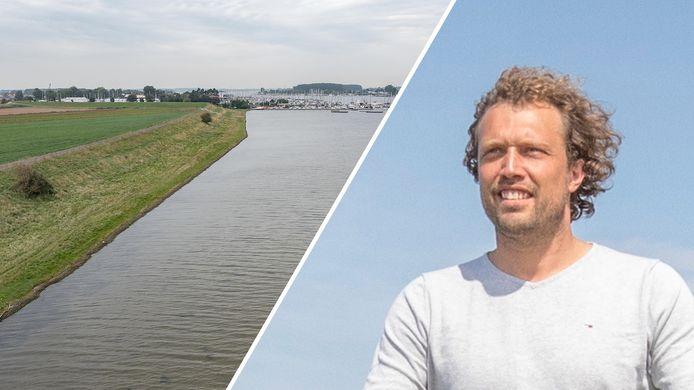 Fotomontage: rechts 'Boer' Bastiaan van 't Westeinde, links de locatie in de Zuidvlietpolder aan het Veerse Meer waar hij graag ecolodges zou willen bouwen.