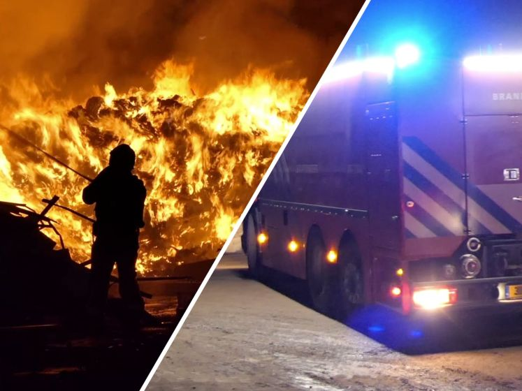 Enorme brand in afvalberg in Putten