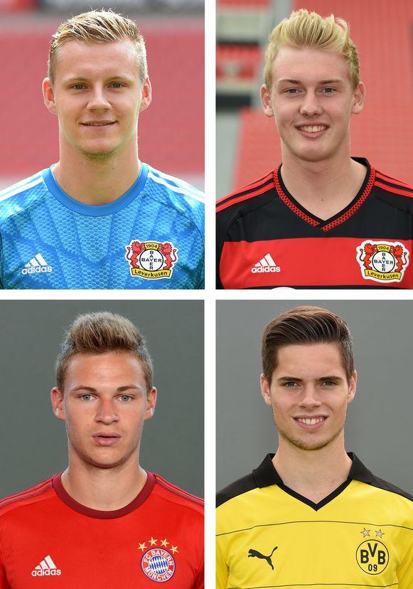 De debutanten met Brandt (rechtsboven), Kimmich (linksonder) en Weigl (rechtsonder. Doelman Leno (linksboven) zat al een keertje in de selectie, maar keepte nog niet