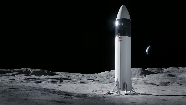 Lunar Starship van SpaceX op het oppervlak van de maan. Beeld Illustratie: SpaceX