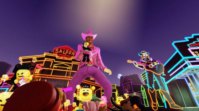 Lil Nas X was de eerste artiest die een optreden gaf op Roblox: een gratis platform waar tieners elkaar ontmoeten om minigames te spelen. Beeld rv