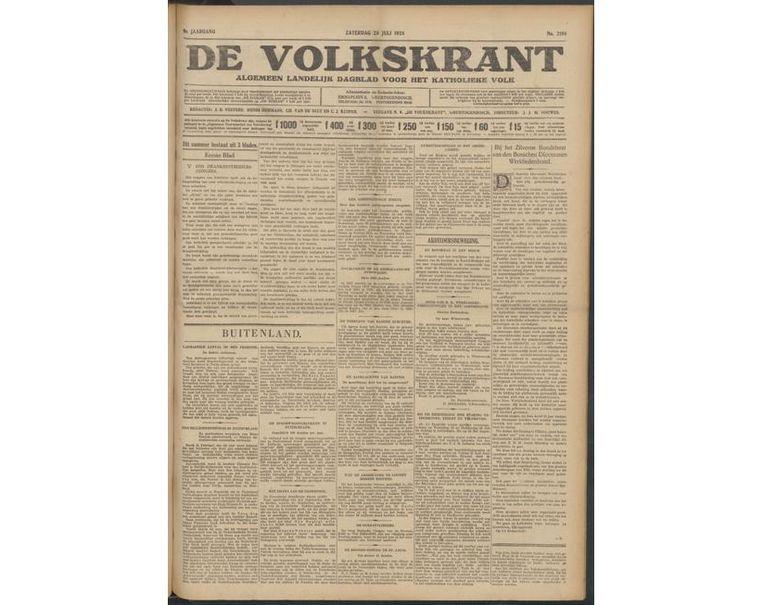 De voorpagina van 28 juli 1928 Beeld Volkskrant