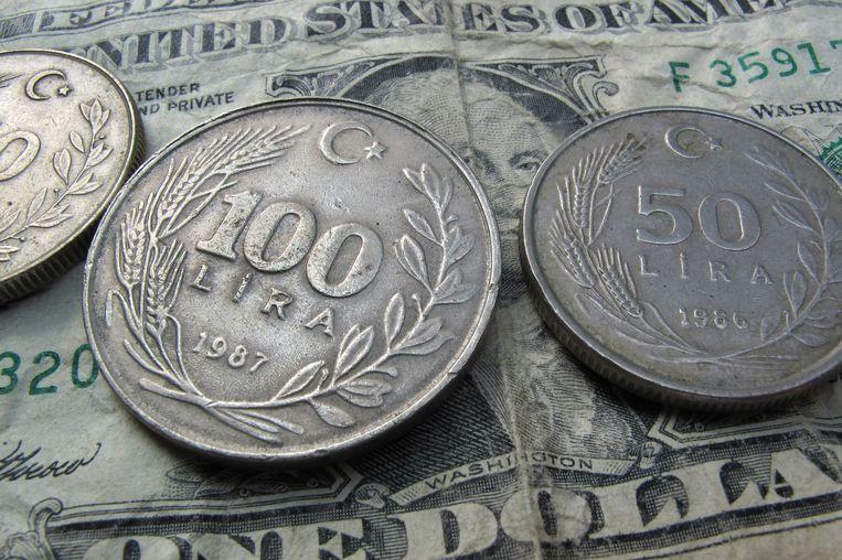 Munten van de Turkse lira op een dollarbiljet. Beeld Karl-Josef Hildenbrand, dpa