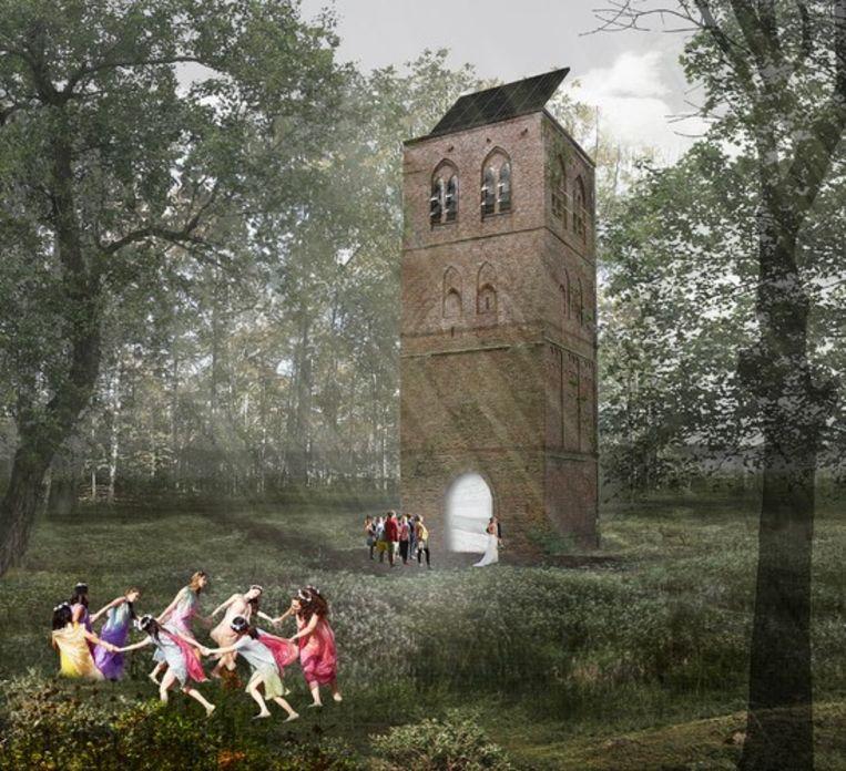 Artist impression van de nieuwe oude toren. Beeld Studio Marco Vermeulen