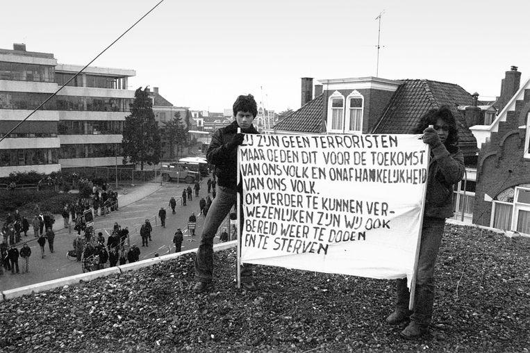 Demonstratie tijdens het proces van de Zuid-Molukkers in Assen in 1976. Beeld rv