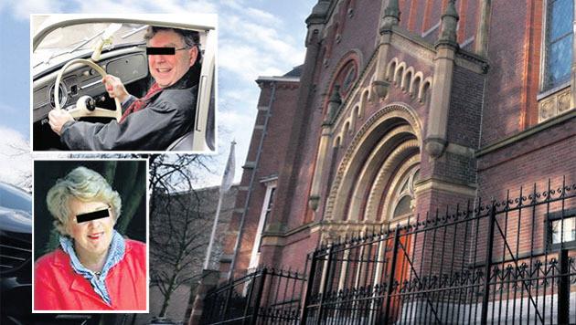 De Haagse Doopsgezinde Kerk aan de Paleisstraat in Den Haag is tonnen armer door toedoen van Hans (inzet boven) en Brigitte S. (inzet onder).